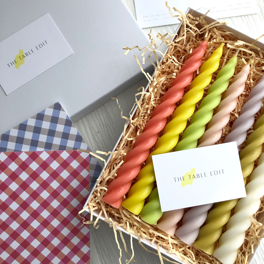BEESWAX TWIST CANDLES : RAINBOW GIFT BOX