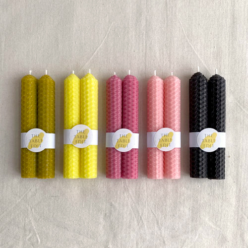 PAIR OF ROLLED BEESWAX CANDLES : OLIVE