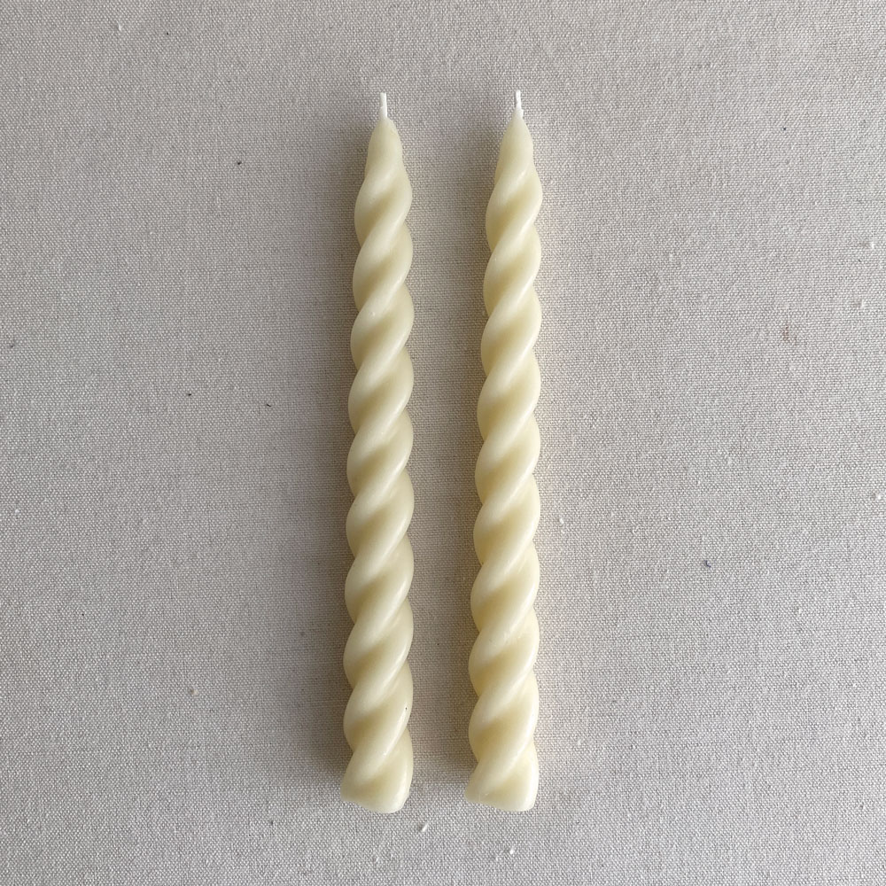 PAIR OF BEESWAX TWIST CANDLES : PAPER