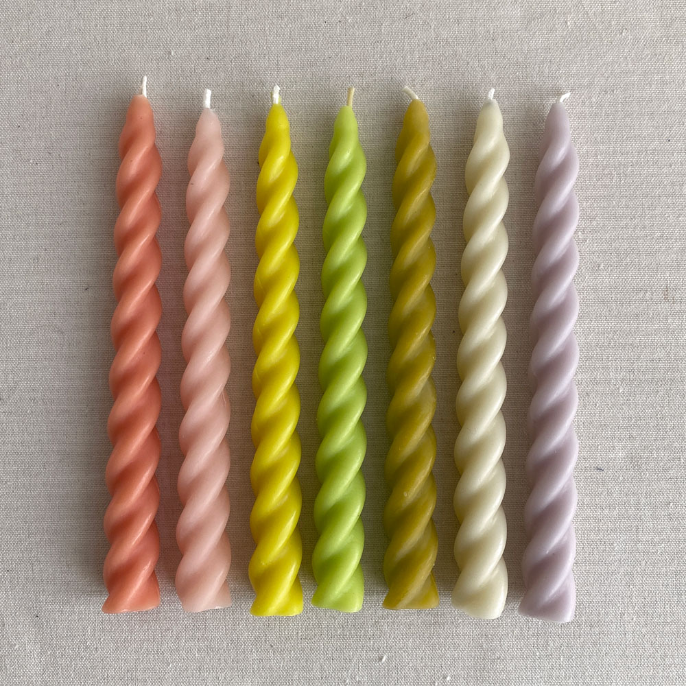 BEESWAX TWIST CANDLES : RAINBOW SET OF SEVEN