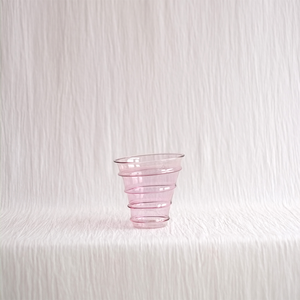 DELICATE PINK RINGED GLASS TUMBLERS