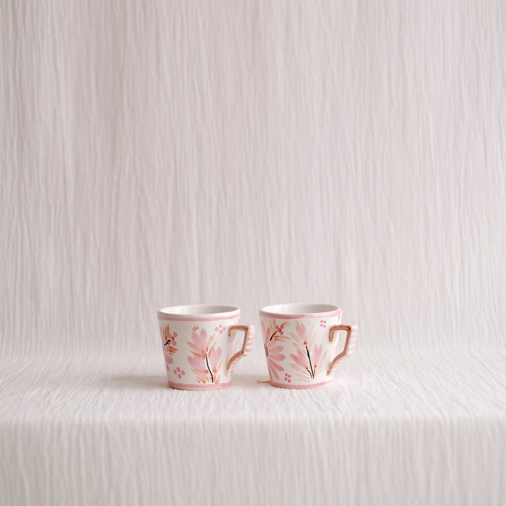 HAND PAINTED PINK FLORAL COFFEE CUPS