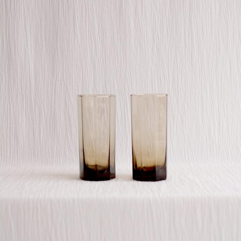 PAIR OF OCTAGONAL GLASSES IN SMOKE