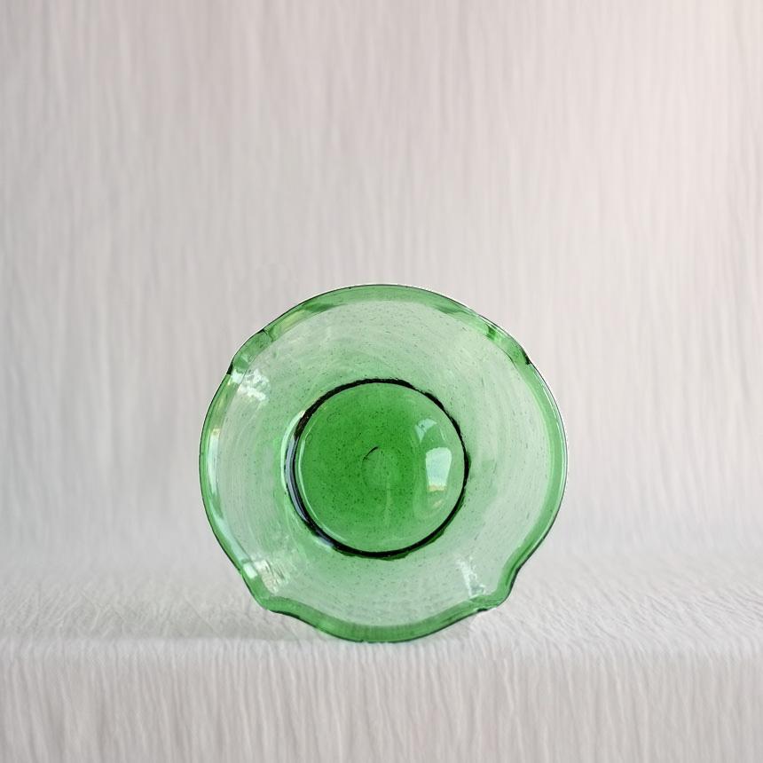HANDBLOWN GREEN GLASS DISH