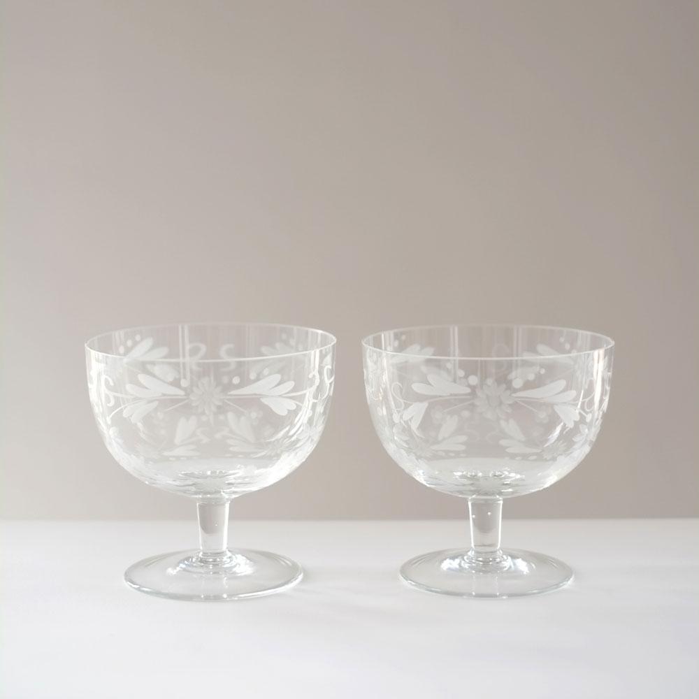 PAIR FLORAL ETCHED GLASSES