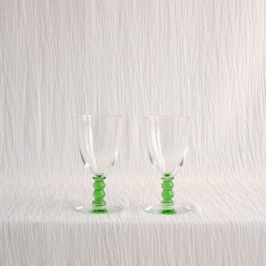 PAIR GREEN BALL STEM GLASSES