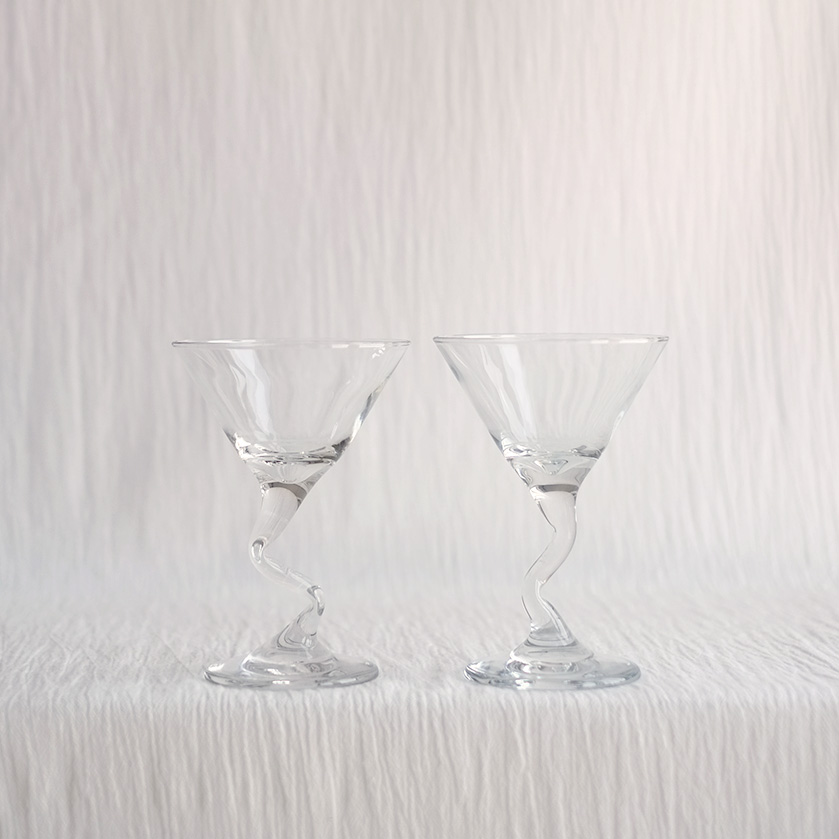 PAIR ZIG ZAG STEM COCKTAIL GLASSES