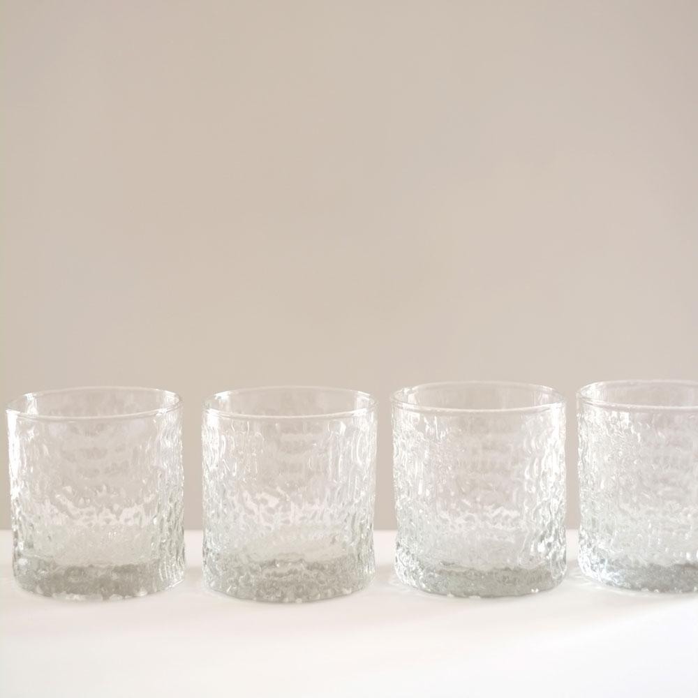 SET FOUR 1970S BARK GLASS TUMBLERS