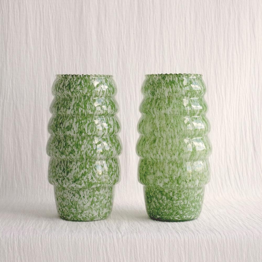 GREEN & WHITE SPATTERED GLASS VASES