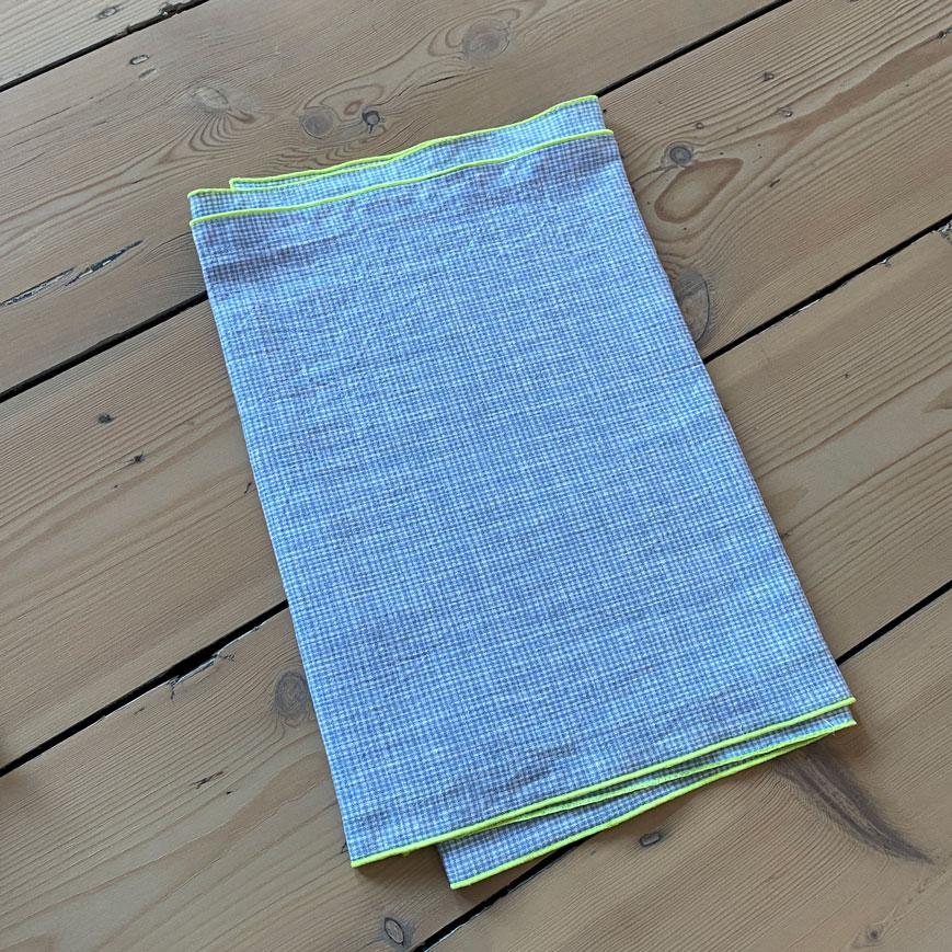 BLUE MICRO CHECK LINEN TABLE RUNNER