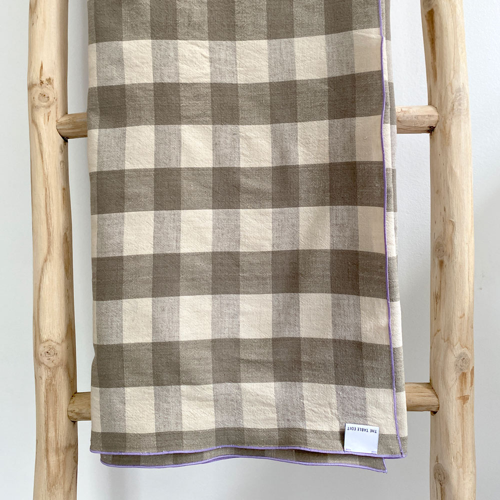 LARGE GREEN & NEUTRAL GINGHAM COTTON TABLECLOTH 270CM X 110CM