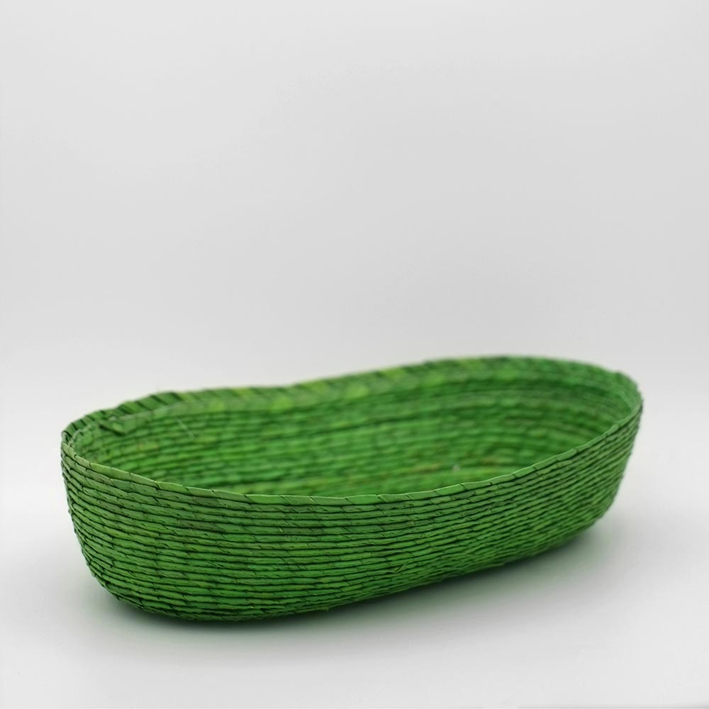 MEXICAN HANDWOVEN GREEN OVAL BASKET