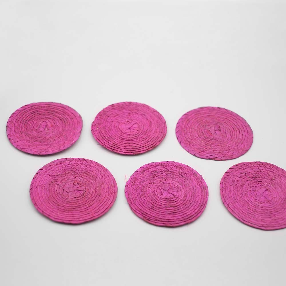SET OF SIX MEXICAN HANDWOVEN PINK COASTERS