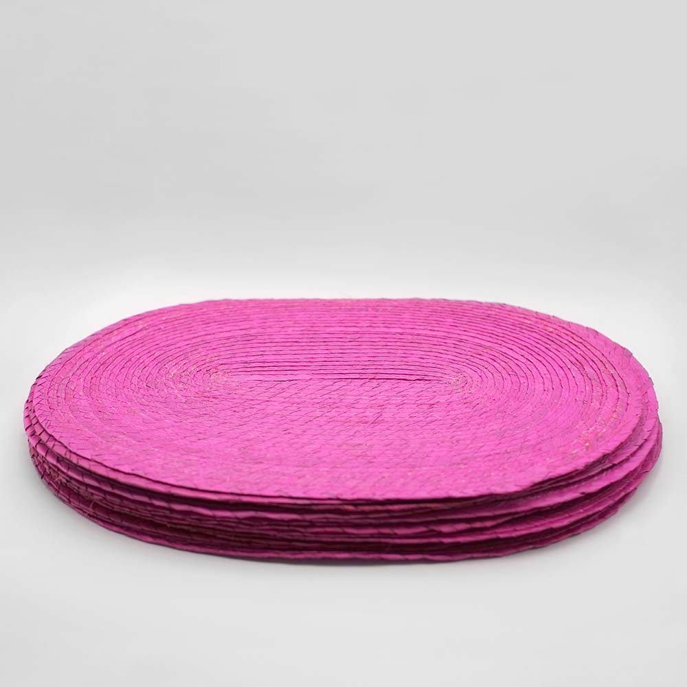 SET OF SIX MEXICAN HANDWOVEN PINK PLACEMATS