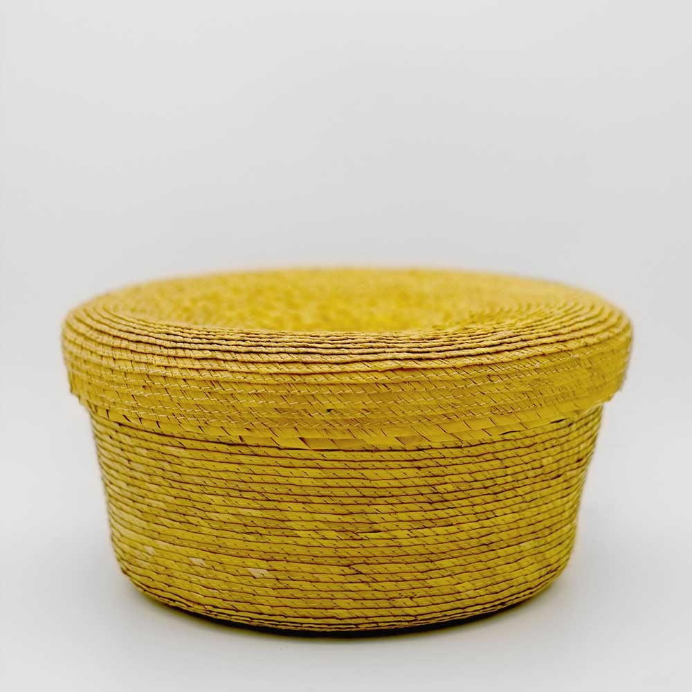 MEXICAN HANDWOVEN YELLOW LIDDED BASKET