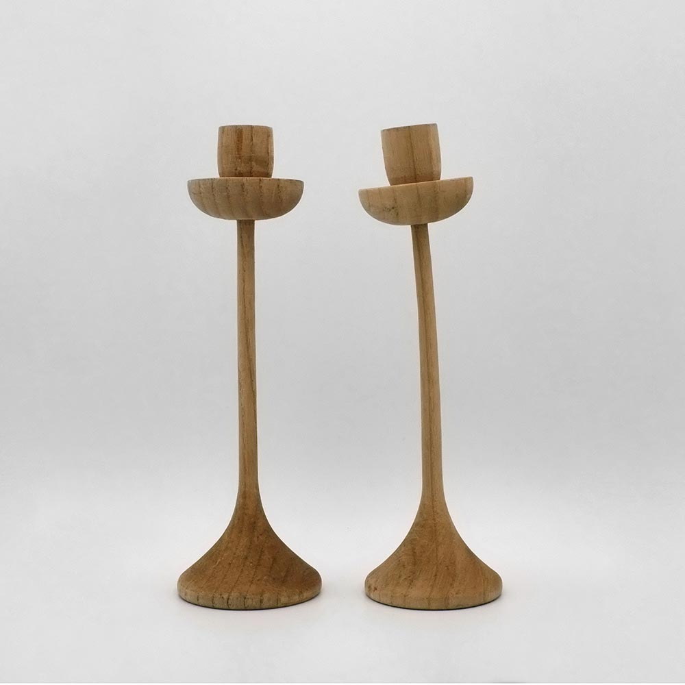 MODERNIST WOODEN CANDLESTICKS