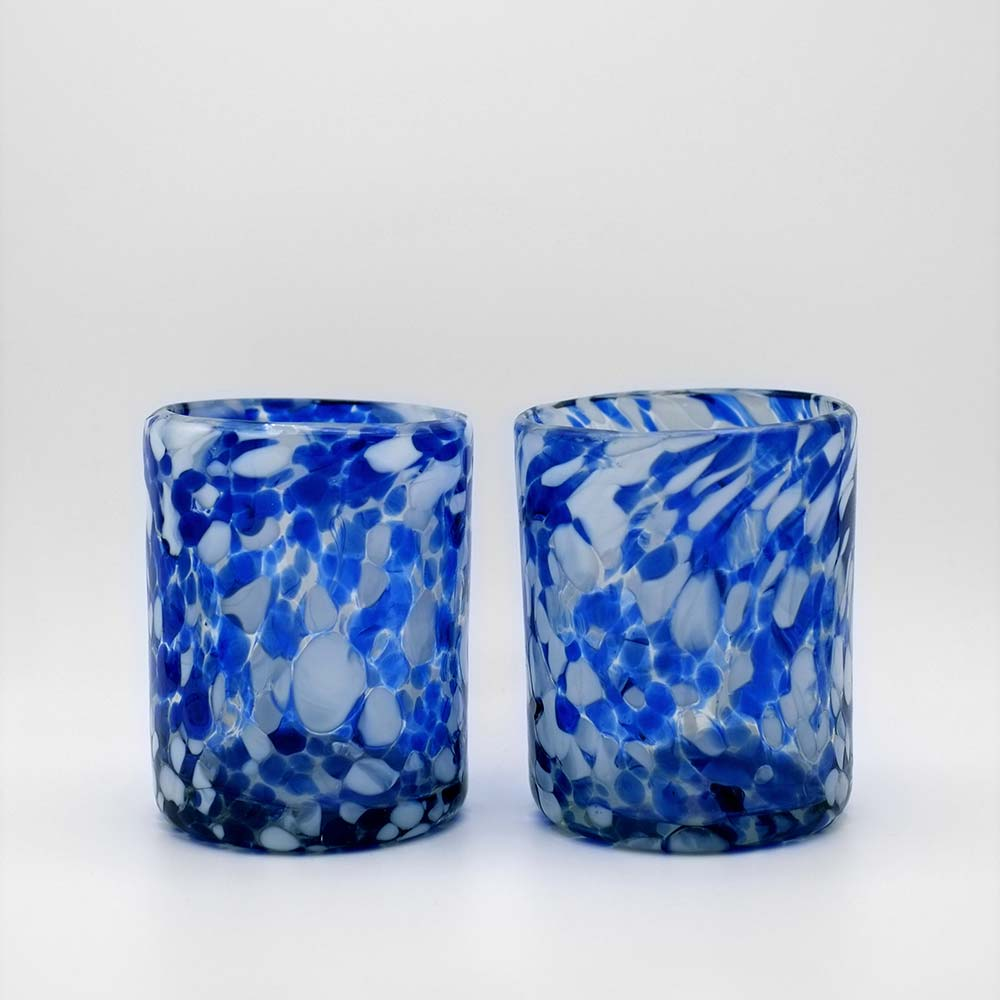 SET OF TWO MEXICAN HANDBLOWN GLASS TUMBLERS