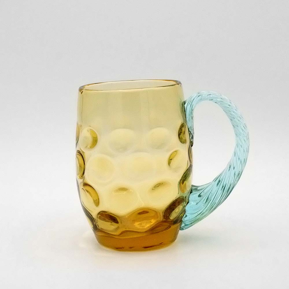 AMBER & TURQUOISE COLOURED GLASS MUG