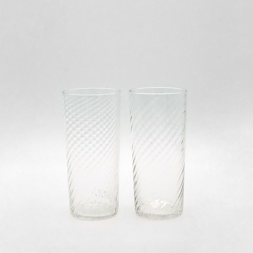 SET OF TWO STEMLESS FLUTED CHAMPAGNE GLASSES