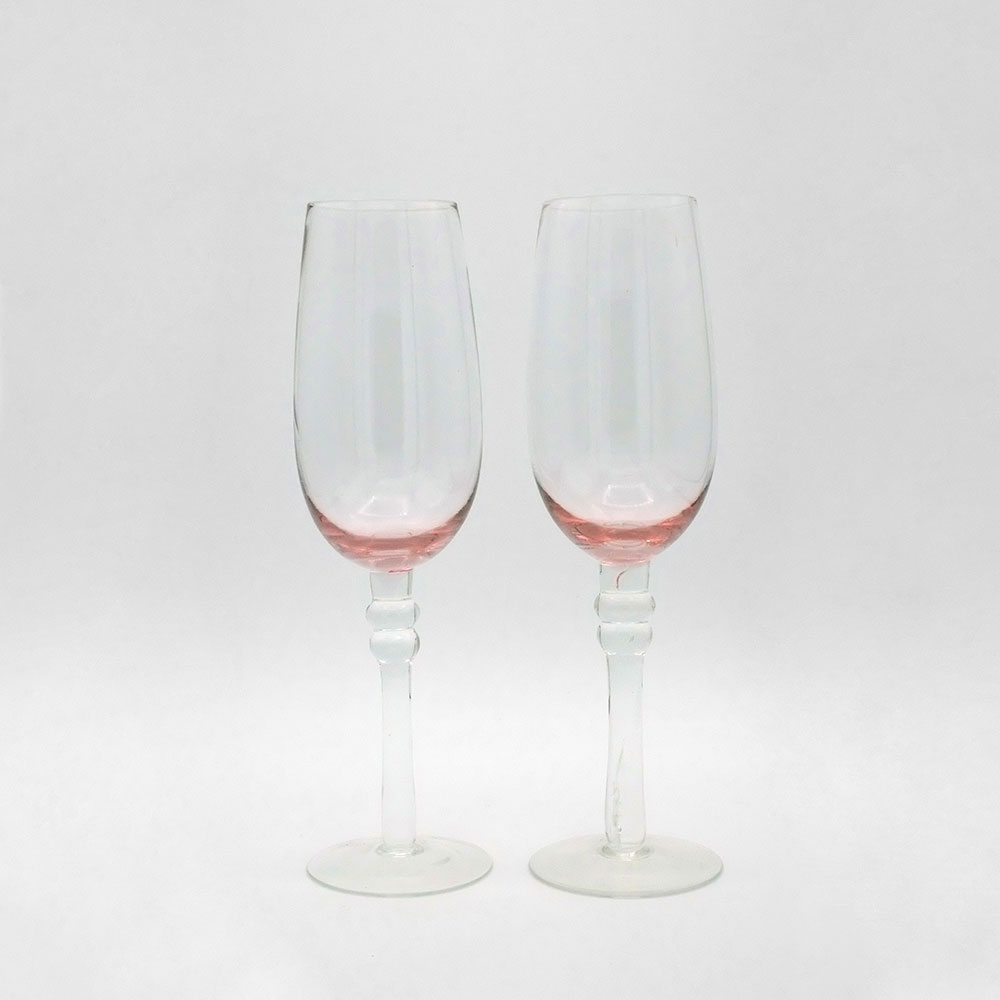 SET OF TWO PINK TINTED CHAMPAGNE GLASSES