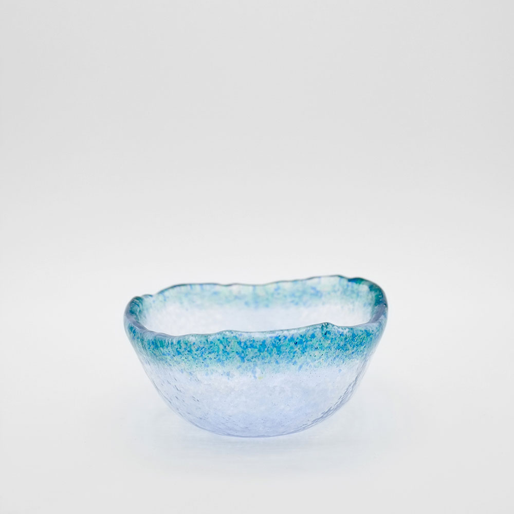 HANDMADE COLOURED RIM GLASS BOWL - SMALL